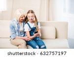 happy grandmother and... | Shutterstock . vector #632757197