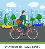 city style businessman with bag ... | Shutterstock .eps vector #632758457