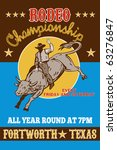 "vector retro style illustration of a Poster showing an American  Rodeo Cowboy riding  a bull bucking jumping with sun in background and words  ""Rodeo championship all year round Fort Worth, Texas USA"