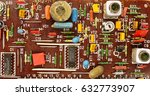 board with radio components | Shutterstock . vector #632773907