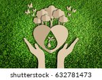 save water concept. paper cut... | Shutterstock . vector #632781473