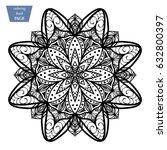 mandala. coloring page. vintage ... | Shutterstock .eps vector #632800397