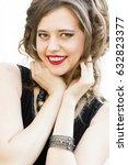 beautiful female model in black ... | Shutterstock . vector #632823377