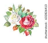 watercolor roses   Shutterstock . vector #632826413