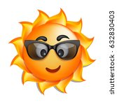 summer sun face in glasses.... | Shutterstock .eps vector #632830403