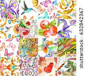 watercolor patchwork for your... | Shutterstock . vector #632842367
