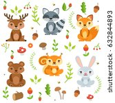 funny forest animals and floral ... | Shutterstock .eps vector #632844893