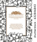 invitation with floral... | Shutterstock .eps vector #632846843
