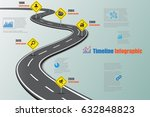 design template  road map... | Shutterstock .eps vector #632848823