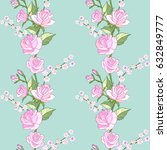 pink roses floral seamless... | Shutterstock .eps vector #632849777