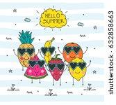 hello summer doodle... | Shutterstock .eps vector #632858663