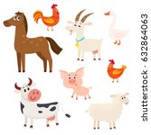 set of farm animals   cow ... | Shutterstock .eps vector #632864063