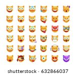 set cute emoticon cat on white... | Shutterstock .eps vector #632866037
