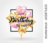 happy birthday balloon banner....   Shutterstock .eps vector #632871623