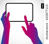 the hands hold the tablet pc... | Shutterstock .eps vector #632877113