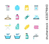 household washing  drying and... | Shutterstock .eps vector #632879843