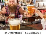 fat bartender holding beer in...   Shutterstock . vector #632886017