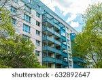colorful plattenbau building at ... | Shutterstock . vector #632892647