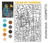 color by number  education game ... | Shutterstock .eps vector #632898773
