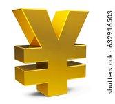 golden yen sign isolated on...   Shutterstock . vector #632916503