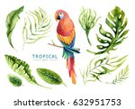 hand drawn watercolor tropical... | Shutterstock . vector #632951753