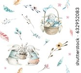 Stock photo cute baby rabbit animal seamless pattern forest illustration for children clothing woodland 632952083