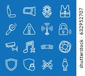 set of 16 safety outline icons... | Shutterstock .eps vector #632952707