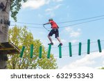 young man passes obstacles in... | Shutterstock . vector #632953343