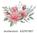 hand painted watercolor... | Shutterstock . vector #632957807