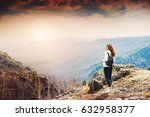 woman hiker standing on top of... | Shutterstock . vector #632958377