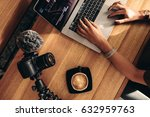 top view of female vlogger...   Shutterstock . vector #632959763
