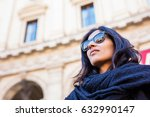 young woman looking up in the... | Shutterstock . vector #632990147