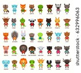 set of cartoon animals.... | Shutterstock .eps vector #632996063