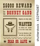 wanted sign with guns and hat... | Shutterstock .eps vector #632996087