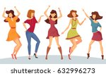 dancing woman with raised hands ... | Shutterstock .eps vector #632996273