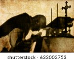 silhouette shadow of a priest... | Shutterstock . vector #633002753
