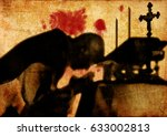 silhouette shadow of a priest... | Shutterstock . vector #633002813