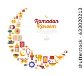 ramadan kareem moon with flat... | Shutterstock .eps vector #633020213