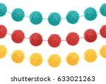 vector set of 3 cute birthday... | Shutterstock .eps vector #633021263