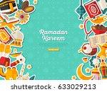 ramadan kareem banner with flat ... | Shutterstock .eps vector #633029213