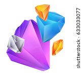 colored crystal isolated on...