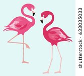 flamingo. exotic birds on blue... | Shutterstock .eps vector #633035033