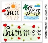 hand drawn lettering  sea  sun  ... | Shutterstock .eps vector #633035693
