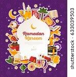 ramadan kareem banner with flat ... | Shutterstock .eps vector #633039503