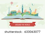 travel composition with famous... | Shutterstock .eps vector #633063077