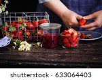 strawberry jam and strawberry... | Shutterstock . vector #633064403