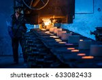 foundry worker pouring hot... | Shutterstock . vector #633082433