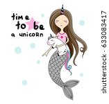 little mermaid with horn and... | Shutterstock .eps vector #633083417
