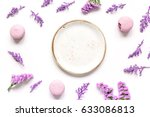 lady morning with macaroons and ... | Shutterstock . vector #633086813