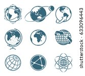 set of icon earth global... | Shutterstock .eps vector #633096443